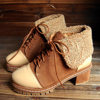 New 2012 winter school of Western wind short boots lace boots high heel winter boots Martin waves of thick-soled leather shoes nude boots