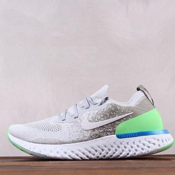 KUYOU N063 Nike Epic React Flyknit Rhea Ultra Light Causal Running Shoes Grey Green