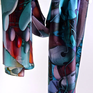 "Large Rectangular Silk Satin Scarf - ""Endoplasmic Reticulum"" Design"