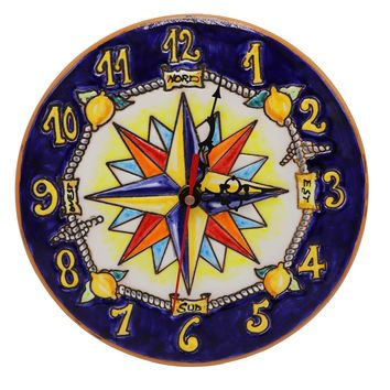 Vietri Wind Rose Ceramic Wall Clock