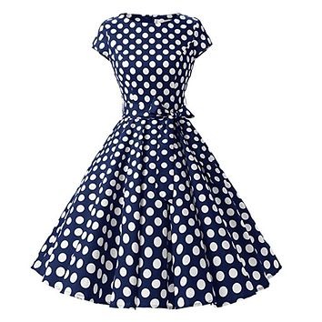 1950s Inspired Retro Rockabilly Cap-Sleeve Dress, Navy Blue with Large White Polka Dots, Sizes XS - 3XL