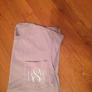 Large Lavender Monogram Pocket Tee / Monogram T-Shirt/ Monogram Back to School