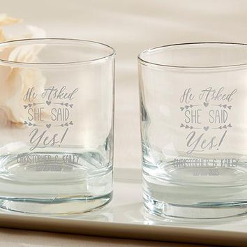 Personalized 9 oz. Rocks Glass - He Asked, She Said Yes