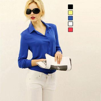 DCCKHY9 2016 New Chiffon Casual Blouse Dress Shirts vetement femme Tops Clothing Lady Beauty Sleeve High Quality