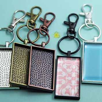 "5 Keychain Kits-24x48mm (1""x2"") Rectangle Bezel Pendant Trays-5 Heavy Duty Lobster Clasp-5~25mm Split Rings-5~24x48mm Glass Cabochons-5color"