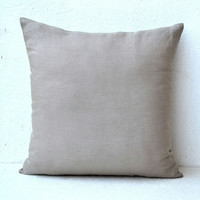 Grey pure Linen pillow - Decorative pillows - Linen Cushion with zipper - 16X16 Throw pillow -Cushion cover -Halloween, holiday season gift.