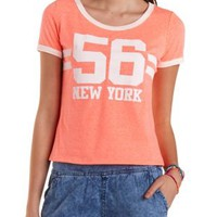 Neon Coral New York Graphic Ringer Tee by Charlotte Russe