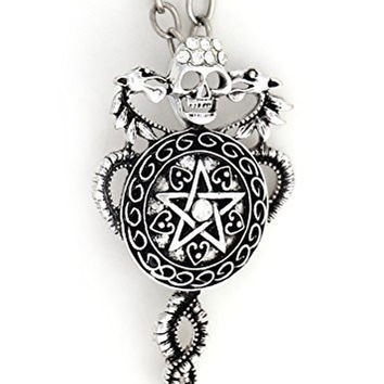 Kundalini Pentagram Necklace Silver Tone Skull NS34 Pentacle Dragons Crystal Star Pendant Jewelry