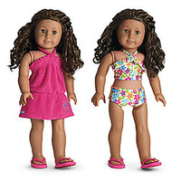 American Girl® Clothing: Floral Swim Outfit for Dolls + Charm