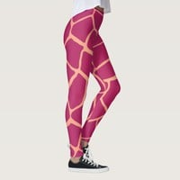 Reddish Pink Giraffe Skin Pattern Leggings