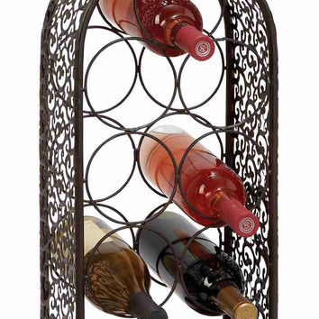"Benzara Unique Chile Metal Wine Rack Wine Bottle Holder 23""H"