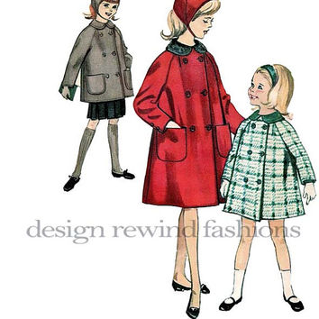 1960s Girl's Double Breasted Coat w/ Raglan Sleeves, Peter Pan Collar & Hat  Breast 30/ Size 12 Simplicity 5147 Vintage UNCUT Sewing Pattern
