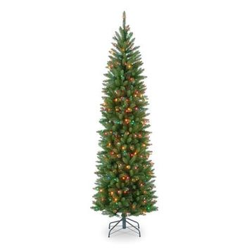 6.5 Foot Narrow Slim Small Footprint Christmas Tree Prelit 250 Multi-Color Lights