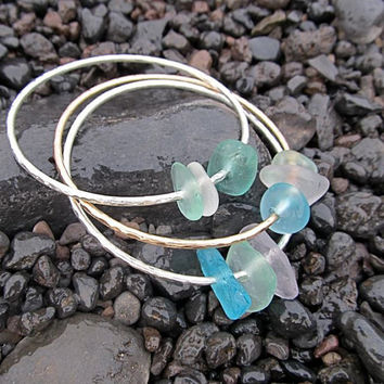 Hawaiian Sea Glass Bangle, Sterling Silver, Hammered Bracelet, Handmade, Surfer Girl, Hawaii Beach Jewelry, Gift for Her