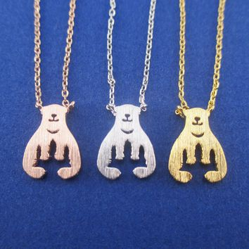 Polar Bear Aurora Northern Lights Silhouette Shaped Pendant Necklace