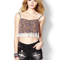 Cropped Floral and Lace Tank