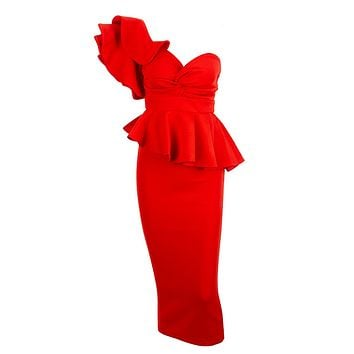 Be Faithful Red One Shoulder Ruffle Peplum Twist Front Two Piece Bodycon Midi Dress