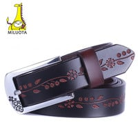 [MILUOTA] 2016 Fashion Genuine Leather Belts for Women Vintage Floral Carved Cow Skin Belt Woman Top Quality Brand Strap DE041