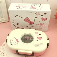 750ml Cute Cartoon Lunch Food Box Hello Kitty/ Doraemon Heat Preservation Stainless Steel Kids Lunch Food Container Thermo Boxes