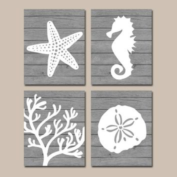 Beach BATHROOM Wall Art Canvas or Prints Nautical Nautical Bathroom Decor, Aqua Starfish Seahorse, Coral Reef, Wood Plank Design, Set of 4