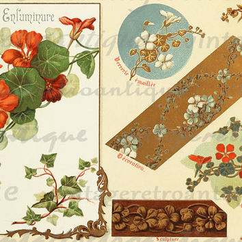 Flower Collage Sheet Design Digital Graphic Image Antique Color Download Printable Vintage Clip Art HQ 300dpi No.363