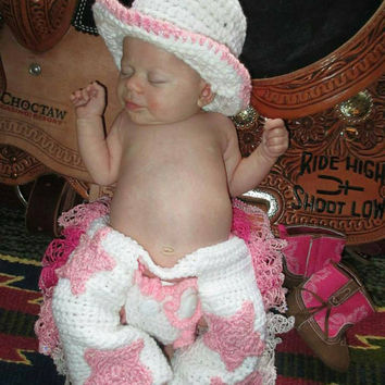 Photography prop Crochet Cowgirl Set/Cowgirl Chaps/Cowgirl Hat/Chaps/Cowboy Hat/Western Photo Prop/Cowgirl Photo Prop/Cowgirl/Diaper cover