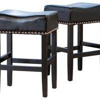 Chantal Leather Stools, Set of 2 - Transitional - Bar Stools And Counter Stools - by GDFStudio