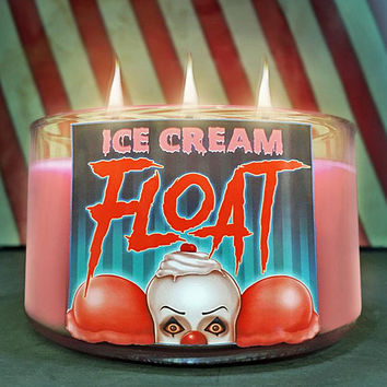 Ice Cream FLOAT Scented Triple Wick Candle - Horror Decor