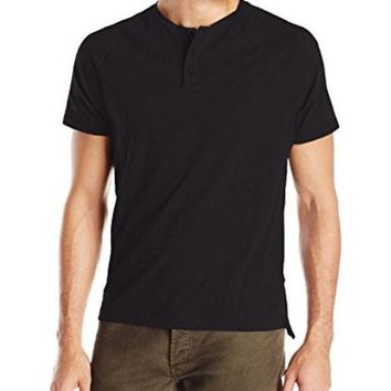LMFON Kenneth Cole New York Men's Dressy Slub Henley Shirt, Black, Medium