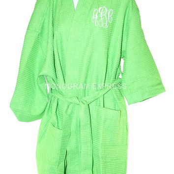 "Waffle Kimono Robe Lime Green 36"" - One Size Fits Most with Free Embroidery"