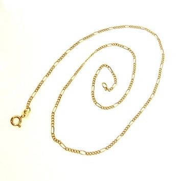 Classic 14k Gold Figaro Chain Necklace Uno A Erre Italy