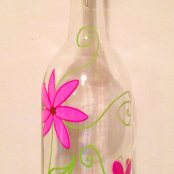 Hand Painted Glass Oil Dispenser  Wine Bottle  by Useless2Unique