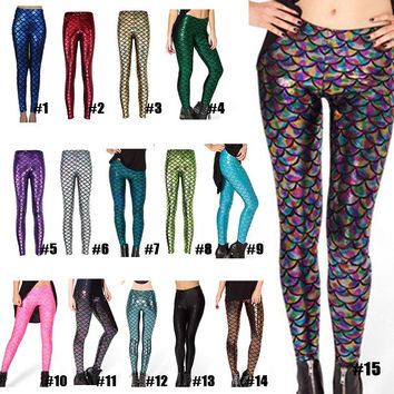 Mermaid Fish Scale Leggings  Printing Leggings