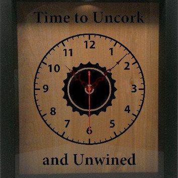 "Shadow Box Clock Wine Cork/Bottle Cap Holder 9""x11"" - Time To Uncork And Unwined"