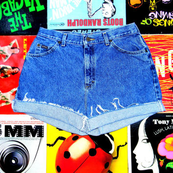 High Waisted Denim Shorts - Vintage 90s Acid Stone Washed RIDERS Jean Shorts - Cut Off, Frayed, Rolled Up, Cuffed, Distressed Misses Size 14