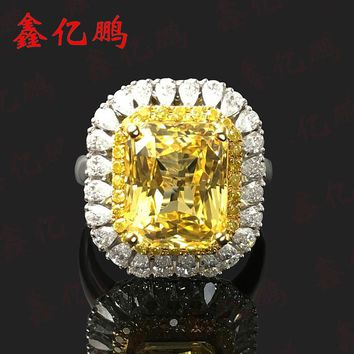 Fine natural yellow sapphire ring 18 k white gold diamond female ring luxury 7.21 carat GGTL certificate