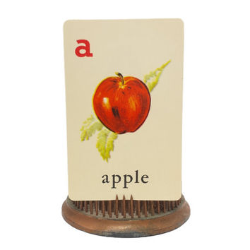 Illustrated Apple Alphabet Card, Vintage Fruit Decor, Picture ABC Flashcards, Kitschy Kitchen, Scrapbook Collage Ephemera Material Supply