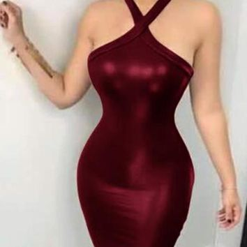 New Burgundy PU Leather Cut Out Halter Neck Backless Bodycon Latex Rubber Mini Dress
