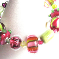 Bracelet Raspberry Pink and Lime Green Lampworked Glass, Swarovski Crystal, and Sterling Silver