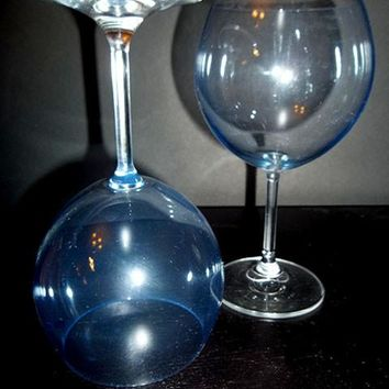 Sky Blue Crystal Balloon Stemware S/2