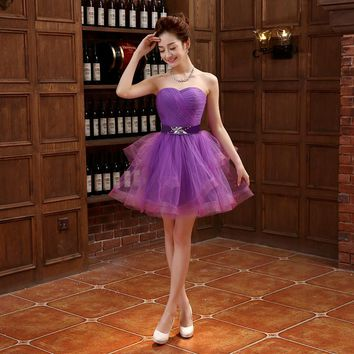 New Elegant Evening Dresses Fashion Purple Bride Gown Romantic Princess Ball Prom Party Homecoming/Graduation Formal Dress