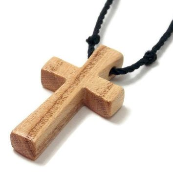 Cross Necklace for Men, Handmade Cross Pendant with Hand Knotted Black Nylon Cord, Adjustable Length, Honey Locust Wood Cross Necklace