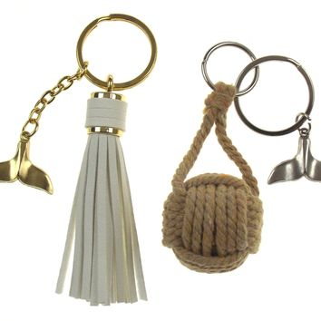 Nautical Theme Whale Tail Tassel Rope Ball Set of 2 Keychains Key Ring Maritime