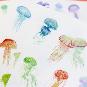 Watercolor Jellyfish Stickers
