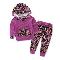 Floral Baby Girls  Long Sleeve T-shirt And Pants Outfit