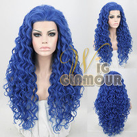 "Spiral Curly Blue 26"" Long Lace Front Wig Heat Resisitant"