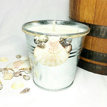 Seashell Tin Bucket Soy Candle/Beach Decor/Fresh Linen Scented Candle/Beach Cottage Gift