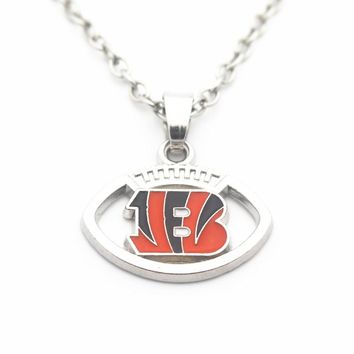10pcs/lot 20 Inch Chains Necklace Football Cincinnati Bengals Pattern Pendant Necklace For Women Sports Long Necklace Jewelry