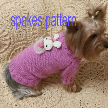 DIGITAL PATTERN:Knit Dog Clothes Pattern,Knit Dog Sweater Pattern,Small Dog Sweater,Cabled Dog Sweater,Puppy Clothes,dog sweater pattern