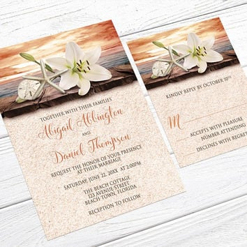 Autumn Beach Wedding Invitations - Lily Seashells and Sand - Tropical Wedding, Destination Wedding, or Seaside Wedding - Printed Invitations